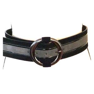 WHBM Black and Gray Suede Fashion Belt EUC